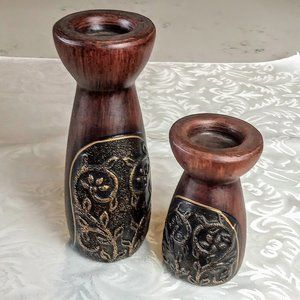 Ceramic Faux Wood Antiqued Candle Holders (2)